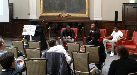 D. Watkins, editor at large for Salon, professor at UB, author, activist and Baltimore resident shared the stage with other Baltimore residents with firsthand accounts of their experiences during the Baltimore Riots in 2015 – Karim Amin and Kenyon Eveline.